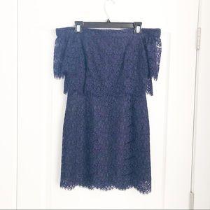 TOPSHOP navy off the shoulder lace dress Sz6